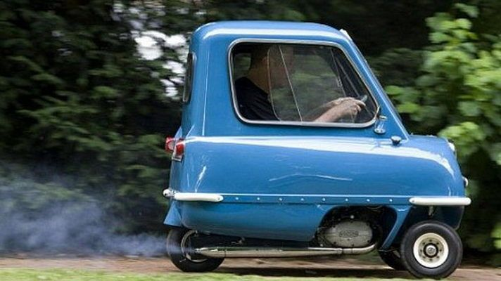 the Peel P50 running on the road