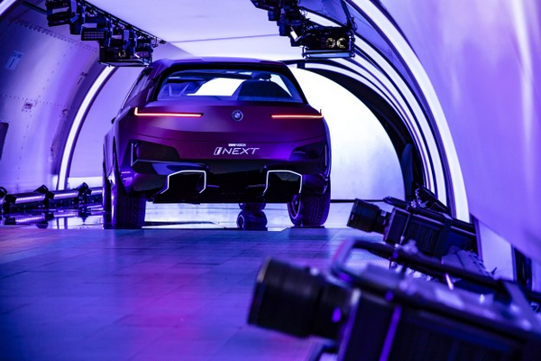 The angular rear of BMW Vision iNext pictured in a plane
