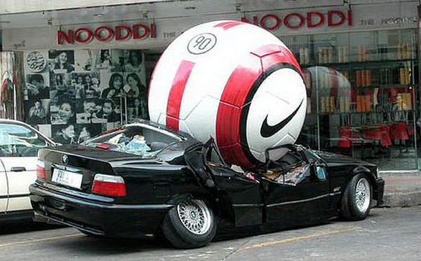 Giant ball crushes the car