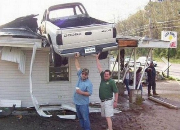 Car crashes into the roof