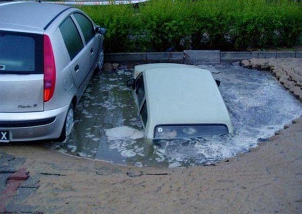 Car sinking down