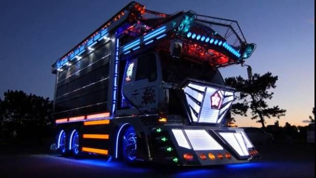 a dekotora truck with colorful decorative lights