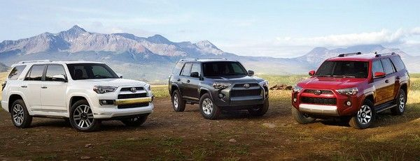 3 Toyota 4Runner in white, black and red