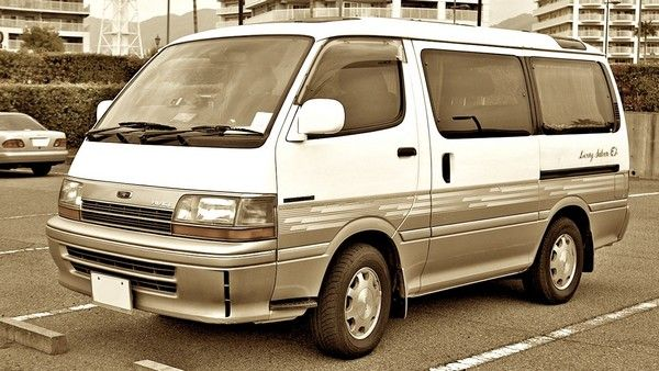 black and white Toyota HiAce