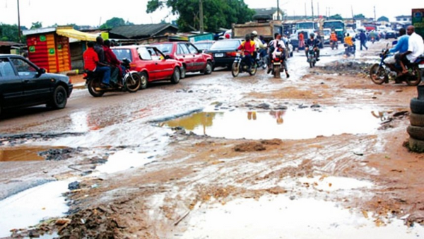 NIgerian roads with giant potholes