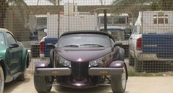 A uniquely-designed purple car of Uday Saddam Hussein
