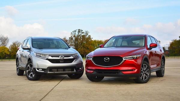 a Honda CR-V and a Mazda 5