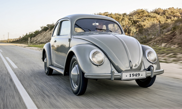 A 1949 Volkswagen Beetle running on roads