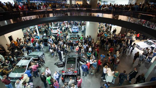 Visitors at a Frankfurt Motor Show