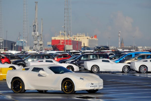 Lots of cars ready to be shipped at a port