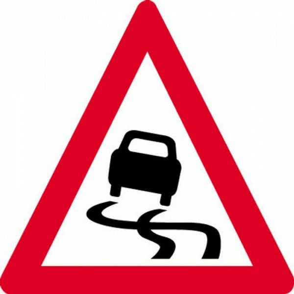 a slippery road sign