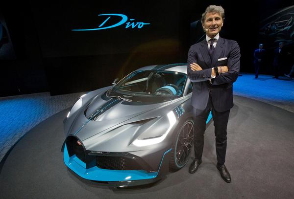 The Bugatti Divo and his spokesman at 2018 Paris Motor Show