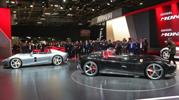 Ferrari's Monza SP2 and Monza SP1 displayed at 2018 Paris Motor Show