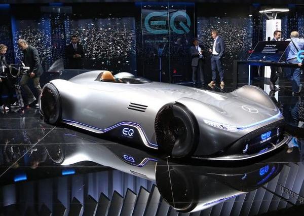 Angular front of the Mercedes-Benz EQ Silver Arrow at 2018 Paris Motor Show