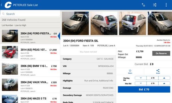 a screenshot of Copart auction platform