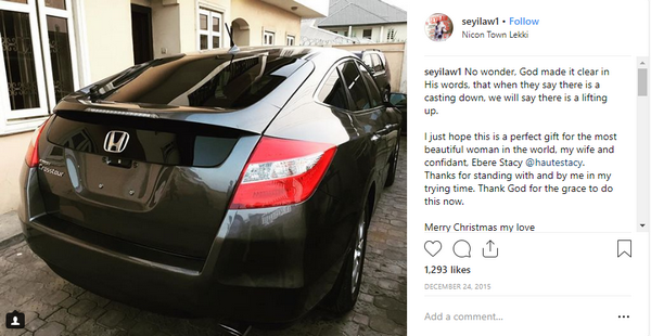 Seyi Law's post on Instagram of the Honda he gifted his wife
