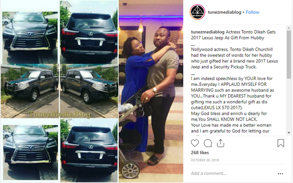 The post of the car Oladunni Churchill gifted his wife