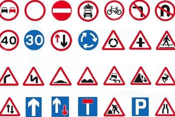 different road symbols