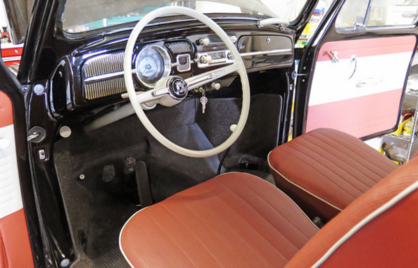 The cabin of the 22-mile Volkswagen Beetle