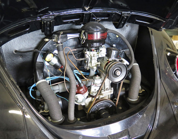 The engine of the 22-mile Volkswagen Beetle