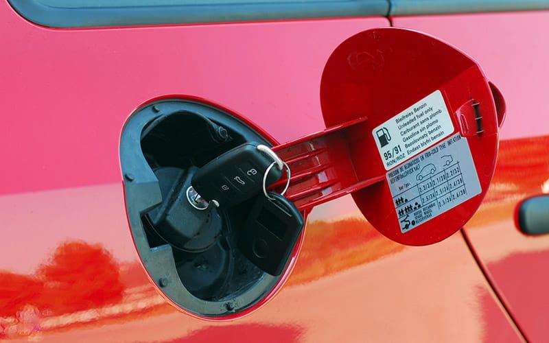 the fuel cap of a car
