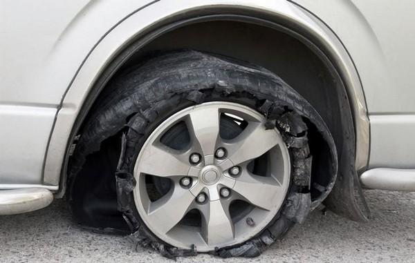 a burst tire