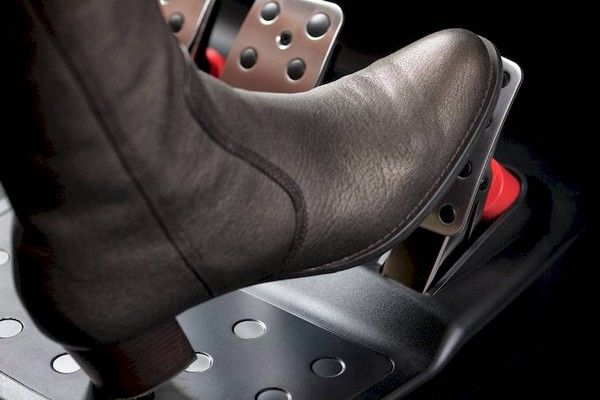 foot pressing the pedal