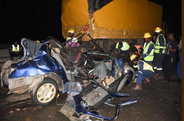 The victim car on Berger Bridge Lagos