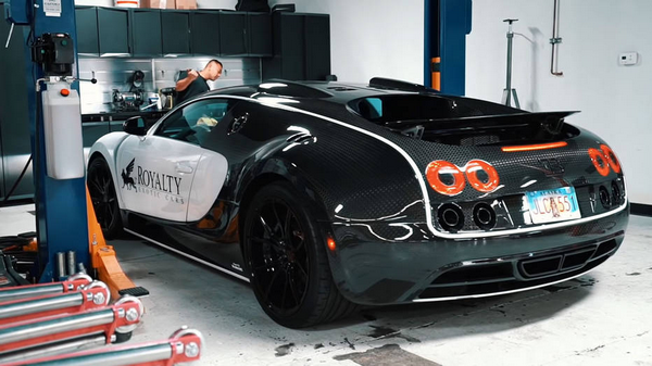 The angular rear of the Bugatti Veyron for rent by Royalty Exotic Cars