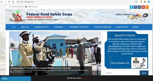 web design of FRSC website