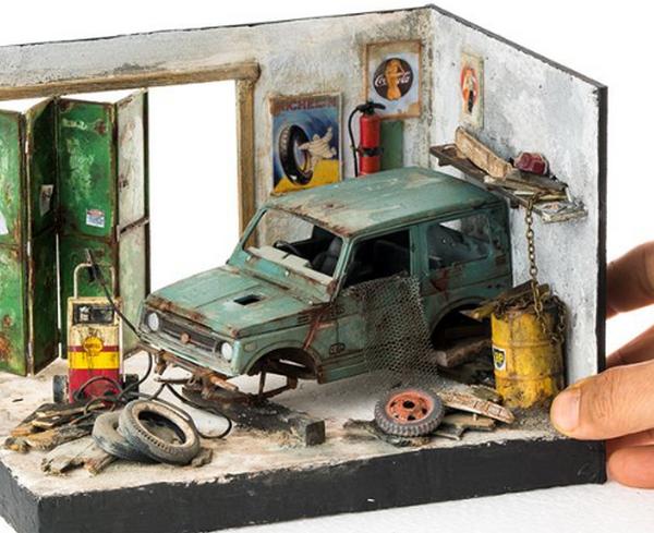 Eddie Putera's miniature car in open garage