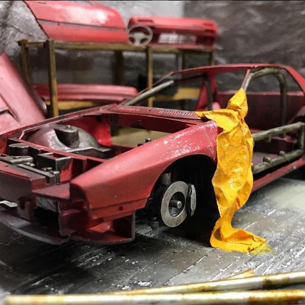 Eddie Putera's miniature red car frame