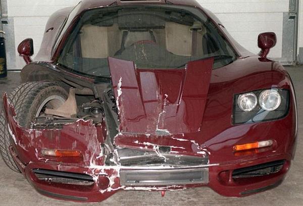 the damged Ferrari of Mr. Bean