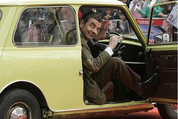 Mr. Bean in a car