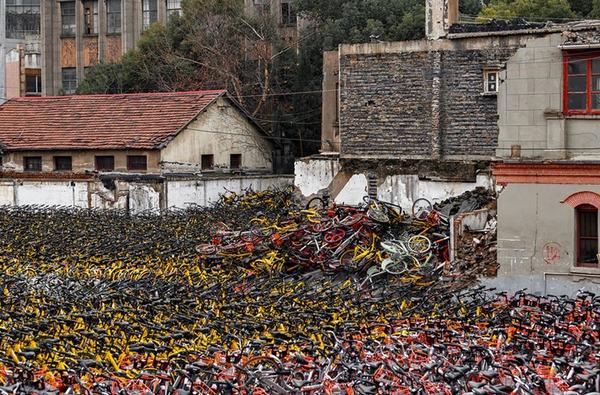 abandoned bikes in Huangpu district, Shanghai, China