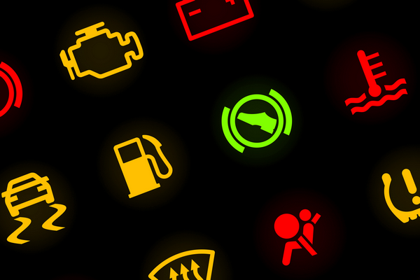The warning lights on the car dashboard