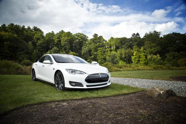 angular front of a Tesla car
