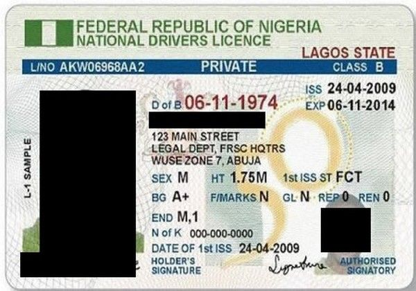 a Nigerian national drivers licence