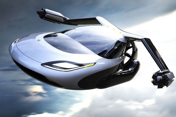 a white flying car