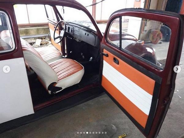 The cabin of the transformed Volkswagen Beetle