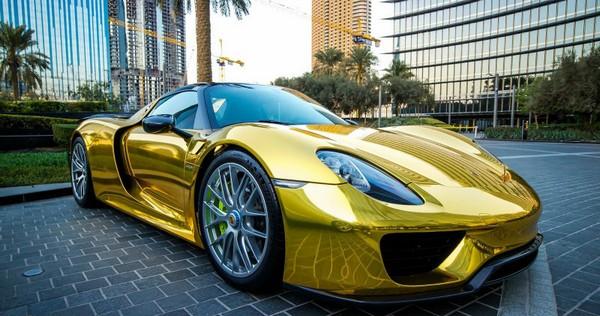 a gold-plated Porsche car