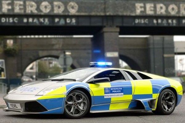 a silver Lamborghini Murcielago of UK police