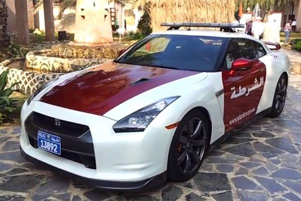 a white Nissan GT-R car of UAE police