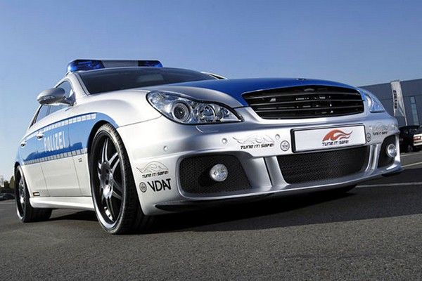 a silver Mercedes Brabus Rocket CLS of Germany police
