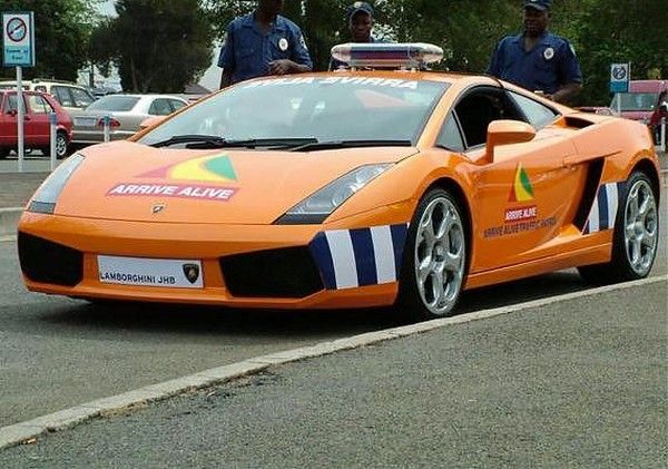 an orange Lamborghini Gallardo of South African police