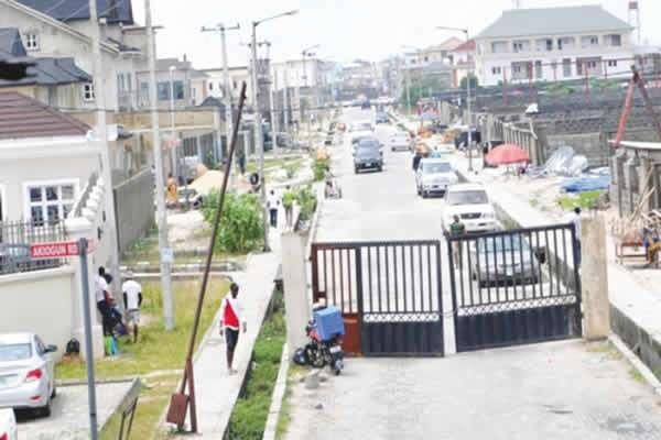 a Lagos street gate