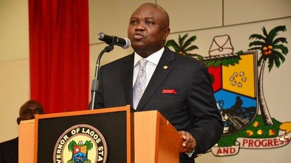 Lagos governor giving public speech