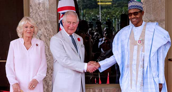 Price Charles, his wife and Nigerian president