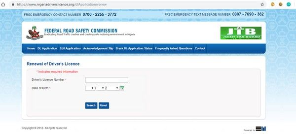 The official FRSC website for drivers license