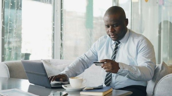 a man doing online payment